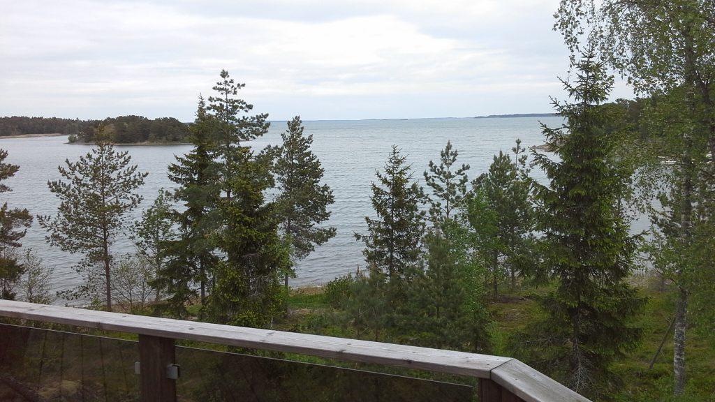 Utsikt från stugans altan.